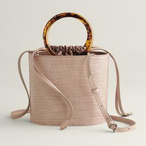 Stylish ring handle croco bag